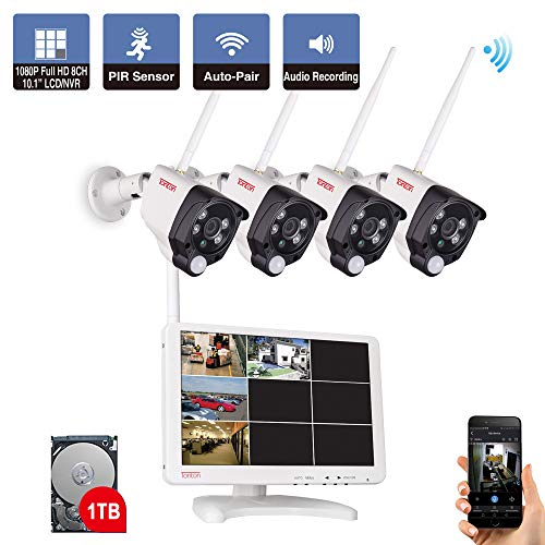 【Audio & PIR Wärmesensor】 Tonton 1080P Audio Wireless Überwachungskamera Set mit Monitor 8CH 10.1