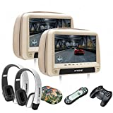 XTRONS® 2016 Neu 2x 9 Zoll Auto Kopfstütze HD TFT Monitor DVD CD Player HDMI USB SD Port FM/IR Touch-Button in Beige mit Zwei Kopfhörer