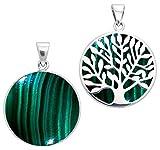 Alterras - Anhänger: Malachit mit Lebensbaum aus 925-Silber