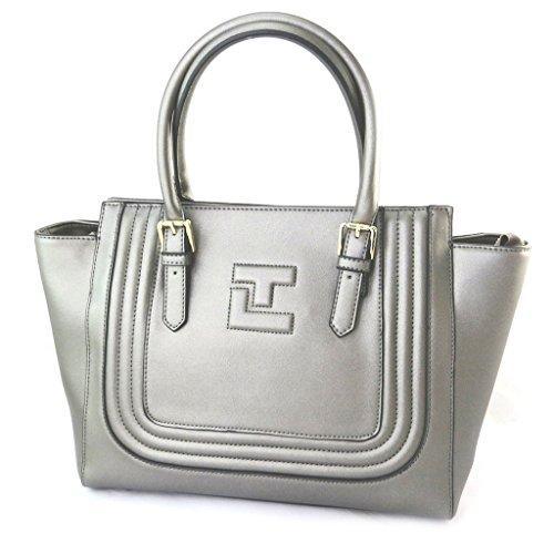 Ted Lapidus [N5451] - Sac créateur 'Ted lapidus' gris métal