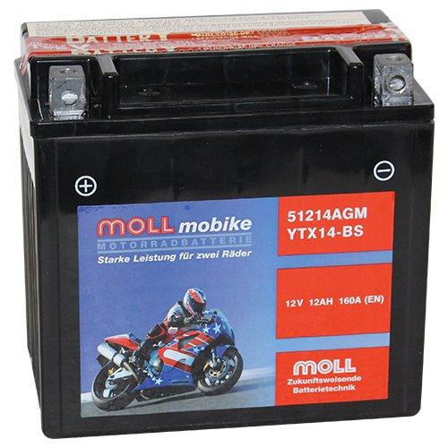 Moll mobike AGM Motorradbatterie YTX14-BS 12Ah 12V 160A - 51214