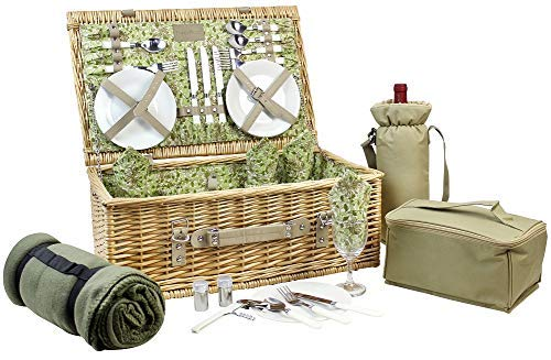HappyPicnic 4 Personen Wicker Picknick Korb Korb, natürliche Willow Picknick Korb Set mit Wein, Kühler Tasche Picknick Decke & Geschirr MEHRWEG (Natürliche Wicker Korb)