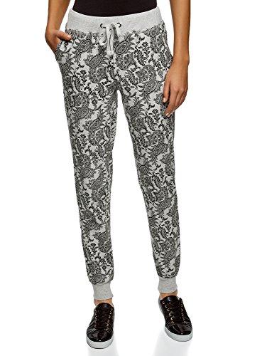 oodji Ultra Damen Jersey-Hose mit Bindebändern, Grau, DE 42 / EU 44 / XL
