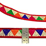 Tela bordada roja decorativa del ajuste Craft 4 cm de ancho tejida Sari cinta 1 Yd