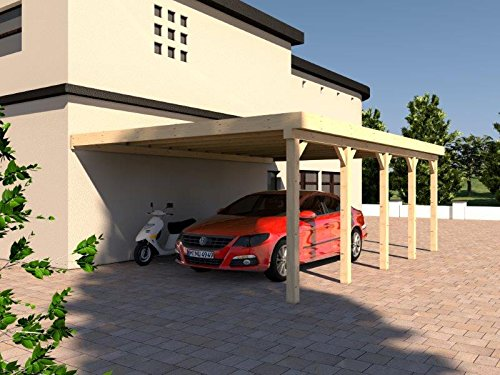 Anlehncarport Carport HARZ X 500x800cm Leimbinder Fichte + PVC-Dacheindeckung