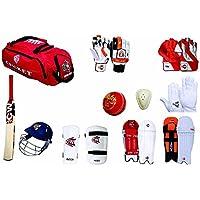 Cricket World Hi Tech Match Team - Juego de accesorios de bateo y críquet para adultos, universidad, escuela, club y juegos, incluye bolsa + bola, bateo, guantes interiores + abdomen + casco + brazo + Thai+W