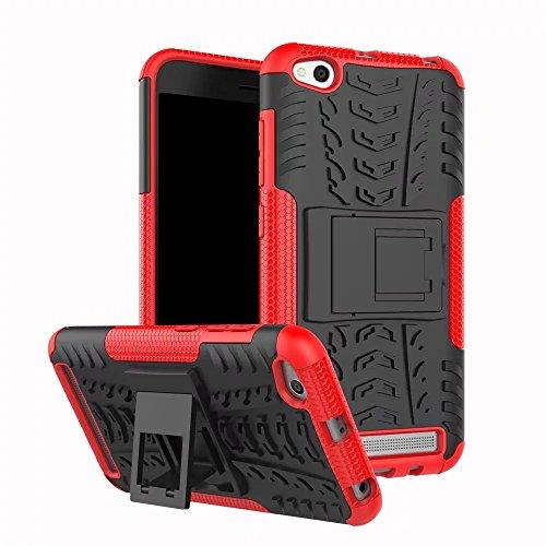 GOGME Funda para Xiaomi Redmi 5A, Armadura Híbrida Plegable Case, Rojo