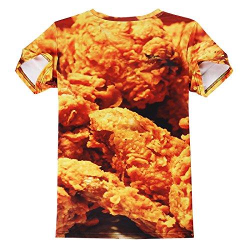 Leapparel Unisex 3D Digital Imprimé Personnalisé Manche Courte T-Shirt Personnalisé Tee-Shirts Fried Chicken