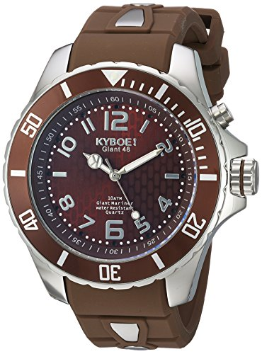KYBOE! 'Power' Quartz Stainless Steel and Silicone Casual Watch, Color:Brown (Model: KY.48-017.15)