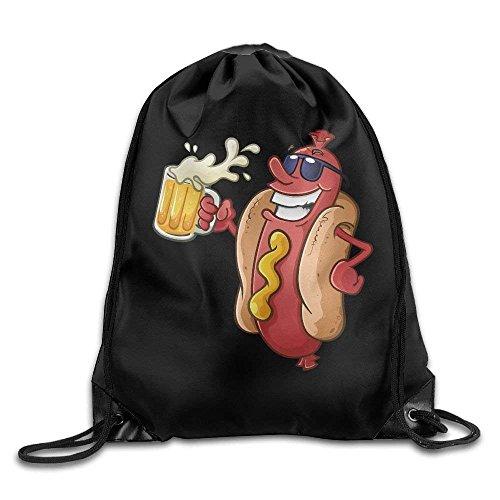 uykjuykj Tunnelzug Rucksäcke, Unisex Hotdog Beer Glasses Print Drawstring Backpack Rucksack Shoulder Bags Gym Bag Sport Bag Lightweight Unique 17x14 IN