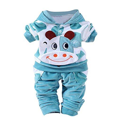 Kobay Neugeborene Baby Mädchen Jungen Cartoon Kuh warm Outfits Kleidung Samt mit Kapuze Tops Set (80 / 6 Monat, Blau)
