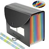 Espandibile File Organizer, BluePower 12 Tasche A4 Multicolor Portable Fisarmonica File Box Cartella di archiviazione, A4 Letter Size Expander Binder Documenti Portafogli Cartelle