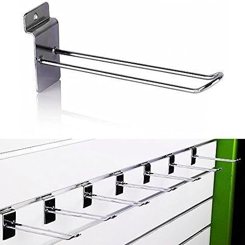 Doppel Haken für Ladeneinrichtung Lamellenwand Paneelwand Lamellen Wandregal Wandhaken Slatwall Hook 15cm Lang 50 Stück