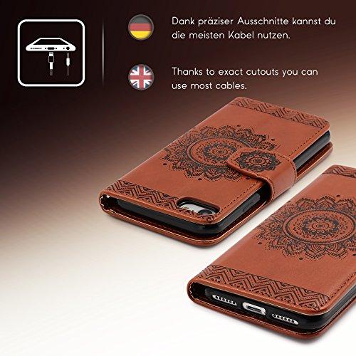 Urcover® Apple iPhone 7 / 8 Handy Schutz-Hülle   Lotus Pattern Wallet Braun   Kartenfach & Standfunktion   Flip Case   Trendy Tasche   Cover Schale   Smartphone Zubehör Braun