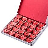 Kaiercat® Bougies Décoratives sans Fumée, Bougie en Forme de Coeur pour Mariage, Anniversaire, Fête, Halloween, Noël, Festival, Soirée (Rouge)