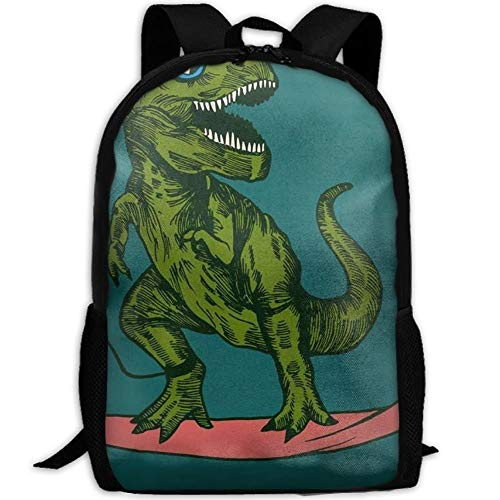 HOJJP Schultasche Dinosaur Surfer Sunglasses Canvas Backpack Set Shoulder Bag Bookbag School Bag Travel Bag for Girls Black (Black School Girl Outfit)