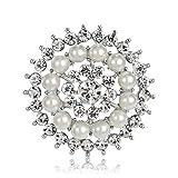 Ecloud Shop Nachahmung Perle Strass Brosche Blume Form Brosche Sonnenblume Design Frauen Modeschmuck Weiß
