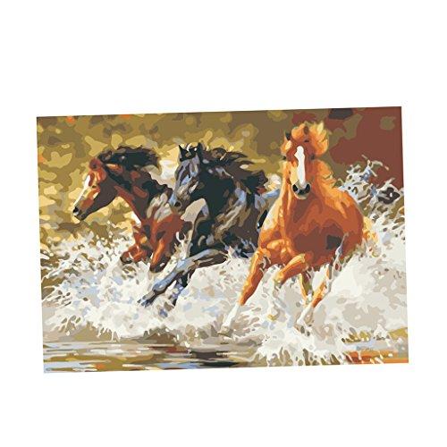 MagiDeal Dipinto A Mano Senza Cornice Dipingere Numeri Olio Stampe Quadri su Tela Pittura Art Poster Casa Decorazione - Cavalli