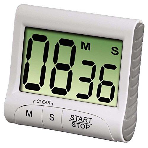 Demarkt Digital Küchentimer Kurzzeitmesser Countdown Extra Großes Display Starke Magnethalterung und Versenkbare Halterung (Weiß)