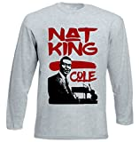 Photo de Teesquare1st Men's NAT KING COLE JAZZ Grey Long Sleeved T-shirt par TEESQUARE1st