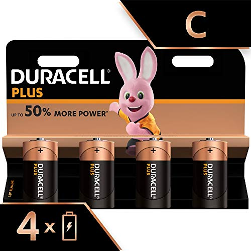 Duracell Plus, lot de 4 piles alcalines Type C 1,5 Volts LR14 MX1400 (visuel non contractuel)