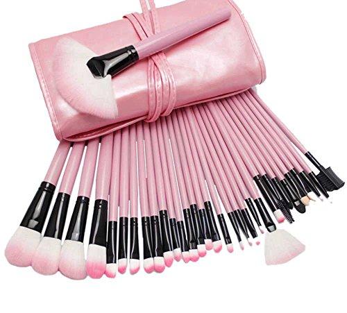AKAAYUKO 32PCS Kit de Pinceau Maquillage Professionnel Blush Pinceau Poudre Brush Fard à paupières Sourcils -Rose