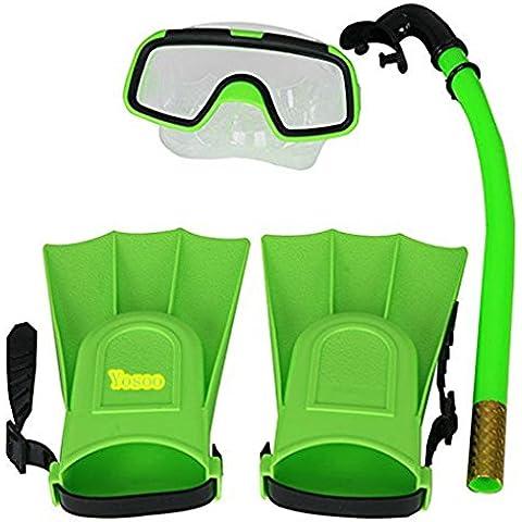 Yosoo Niños Con aletas de buceo con escafandra de silicona + Snorkel + Gafas máscara del tubo respirador de silicona conjunto para los niños