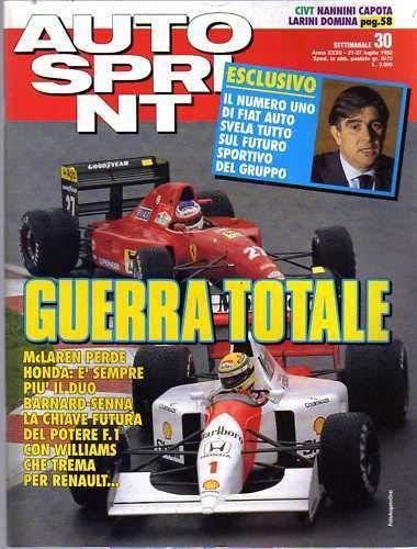 Autosprint Auto Sprint del Luglio 1992 Barnard Senna Nannini