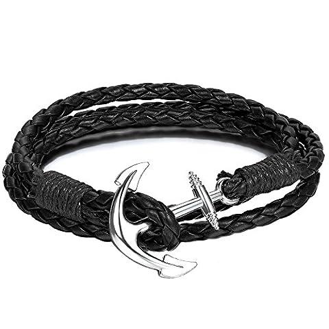 Bracelet Ancre Nautique Paracorde Noire Ancre Argent - Bracelet Tissage Jumelé Ancre Corde