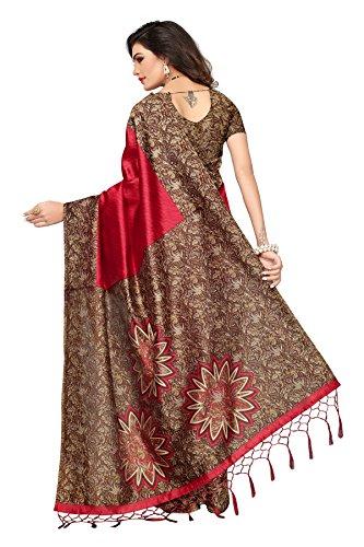 1c026a1a5 ... Ishin Art Silk   Blended Mysore Silk Red Printed Women s Saree Sari With  Tassels ...