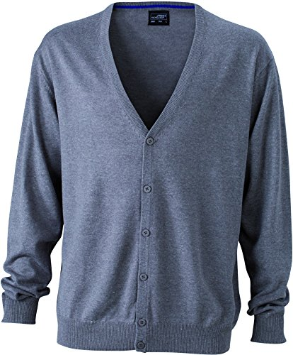 James & Nicholson Herren V-Neck Cardigan Strickjacke, Grau (Grey-Heather), XX-Large -