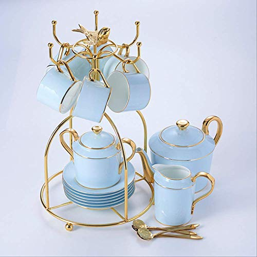 QYYDMKB Gold Blau Bone China Kaffee Set Porzellan Tee Set Erweiterte Topf Tasse Keramik Becher Zuckerdose Creamer Teekanne Drink 16 STÜCKE Set China Creamer
