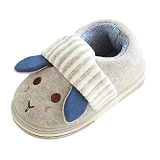 Kids Unisex Indoor Slippers Childrens Warm Lining Novelty Slippers Grey 20