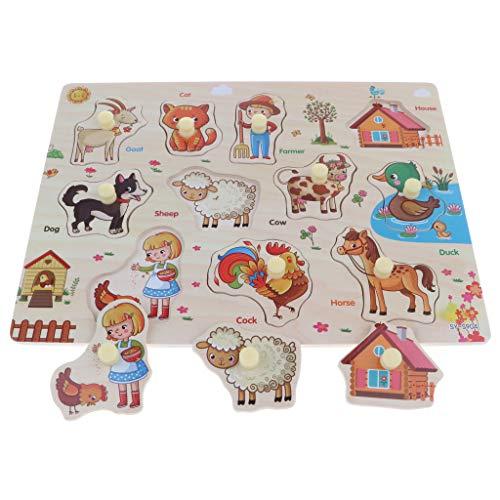 Fenteer Holz Puzzle Steckpuzzle Puzzlespiel pädagogisches Holzspielzeug für Kinder ab 3 Jahren - Mehrfarbig - Nutztiere