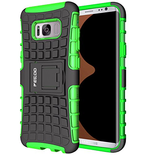 Custodia Galaxy S8,Pegoo Cover Galaxy S8 Ultra Slim armatura antiurto Copertura Cassa Custodia Silicone cover Case supporto stabile Protettiva Shell per Samsung Galaxy S8 (Verde)