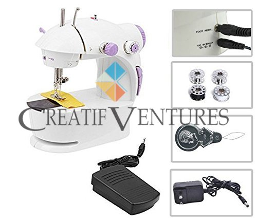 Creatif Ventures Mini Desktop Multi Functional Portable 4 in 1 Sewing Machine with Adapter, Focus Light and Automatic Foot Pedal