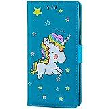 funda HuaWei P8Lite 2017 cuero Unicornio con la función de la ranura de la tarjeta de la carpeta y el patrón de la estrella del brillo chispeante Carcasa(azul-01)