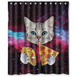 CHATAE Custom Space Nebula Universe Katze Essen Pizza Duschvorhang, stilvollen Polyester-Wasserdicht-Badezimmer Deco 60x 72von Custom Wasserdicht Duschvorhang