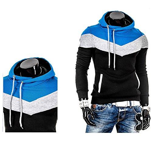 Herren Slim Fit Warm Fleece Hooded Sweater Coat Multi Colored Schwarz - Schwarz