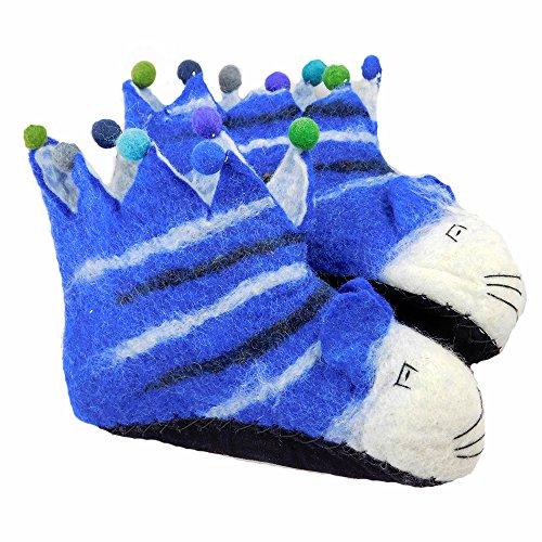 musimon Hausschuhe für Kinder Filzschuhe aus 100% Schafwolle Katze Gr. 39 / 40 blau