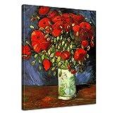 Bilderdepot24 Leinwandbild - Vincent Van Gogh - Vase mit Roten Mohnblumen - 50x70cm Einteilig - Alte Meister - Bilder al