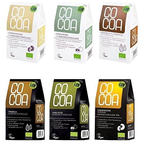 Raw Cocoa Bio Schokonüsse Alle Sorten in Roher Schokolade, 70 g | Hergestellt aus Rohen Ungerösteten Kakaobohnen bei unter 45 °C | Sorgfältig mehr als 60 Stunden Conchiert | mit Kokosblütenzucker Gesüßt | Vegan, Glutenfrei, Laktosefrei, Roh