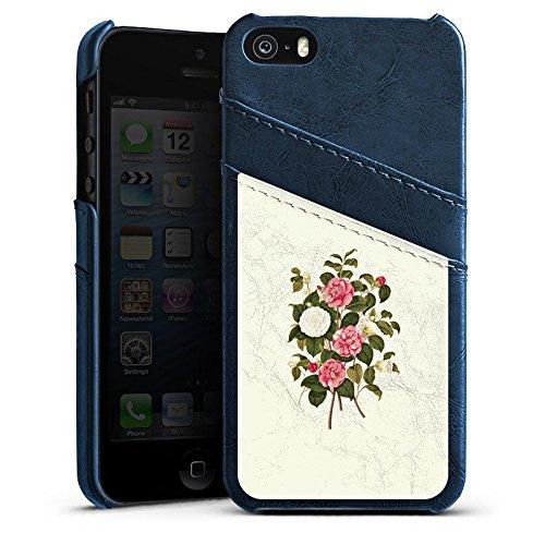 Apple iPhone 4 Housse Étui Silicone Coque Protection Fleurs Fleurs Rose vif Étui en cuir bleu marine
