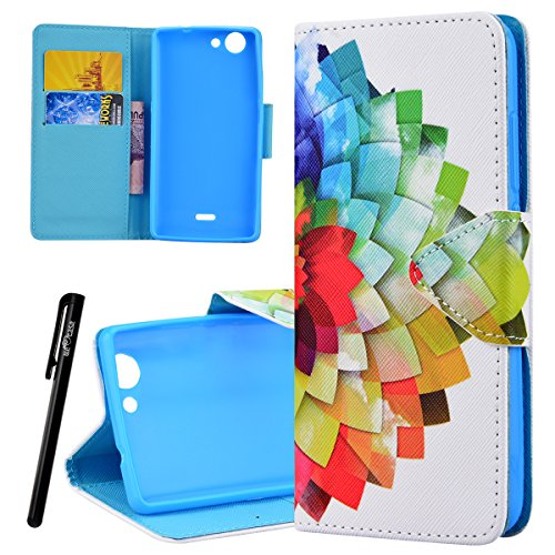 51 p1JuJ8%2BL UK BEST BUY #1Wiko Pulp 4G Wallet Case, We Love Case Leather Stand Flip Folio Card Holder Slot Great Pattern Cute Cover, Premium PU Protective Shock Absorption Proof Drop Defend Anti Scratch Shell for Wiko Pulp 4G   Half Flower price Reviews uk