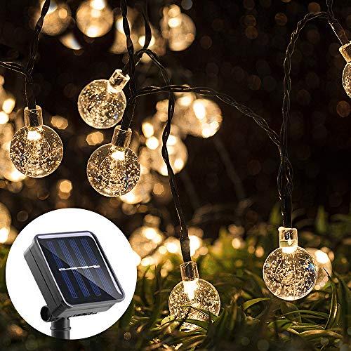 LED Solar Lichterkette, Bukm 7M 50LED Warmweiß Solar Lichterkette Kristall Kugeln, IP65 Wasserdicht Lichterkette,Außerlichterkette Deko für Garten,Bäume,Terrasse,Hochzeiten,Partys[Energieklasse A+++]