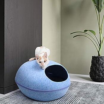 Blusea Grotte pour Chat/Chien Petit Moyen Oeuf Design avec Amovible Coussin, Panier Dôme Niche Grotte de Chat Maison Lit Panier pour Animau, 33x26x20cm