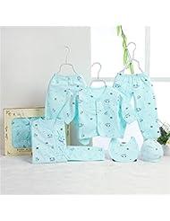 SHISHANG Caja de regalo del bebé Sistema 100% puro del bebé de la luna llena del algodón determinado fijado (sistema de 7 pedazos) Muchacha del muchacho cuatro estaciones para el bebé 0-1-Year-old , tone blue