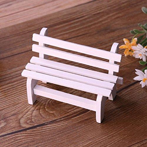 vientiane Miniatur Gartenbank, Miniatur Garten Patio Furniture Holz Stuhl Micro Landschaft Dekoration für DIY Dekorative Verzierungen, Fotografie Requisiten (10,5 x 5 x 7 cm)