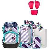 Ergobag Pack ÜBärflieger Special Edition Schulrucksack-Set 7tlg + Seitentaschen ZIP-Set Pink