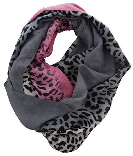 Stylischer Damen Animal Print Leo Tiger Schal Tuch Pink Grau (Print Animal Schal)